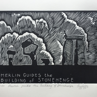Original Print: Merlin guides the Building of Stonehenge (Wall Art Linocut)