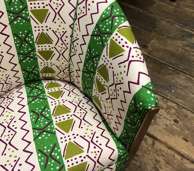 Little Art and Crafts Tub Chair in African Print Fabric