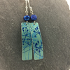 Teal and blue anodised aluminium cow parsley rectangle earrings with blue pearl
