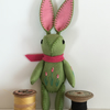 Hand Embroidered Little Green Felt Bunny