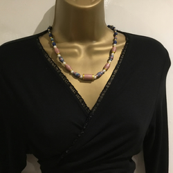 Paper bead and pearl necklace in pink, blue and gold
