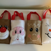 Christmas treat bags, set of four, Rudolph,snowman,Santa,Gingerbread man.
