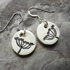 Cow Parsley ceramic and sterling silver drop earrings in black and white