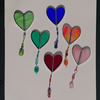 Stained glass tiny heart with glass bead string. Hanging copperfoil suncatcher.