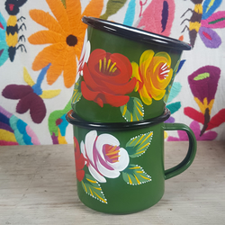 Green hand-painted folk art enamel mug