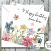 Personalised Birthday Card - Watercolour Florals Print