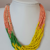 Multicolour  multistrand seedbead necklace,Yellow peach green necklace