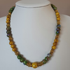 Yellow and green ceramic beads necklace,Yellow and green necklace