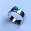 Turquoise Cabochon on Polished 6mm Sterling Silver Band