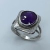 Unique Amethyst and Sterling Silver 'Picture' Ring, Handmade, (U.K size O,P)