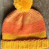 Orange and Yellow Colour Block Hat. Age 3-5