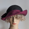 Tweedy grey and raspberry felted wool hat - One of the 'Squashable' range