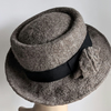 Undyed natural felted wool pork pie hat