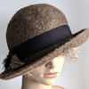 Natural brown undyed felted wool hat
