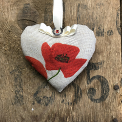 Poppy hanging heart remembrance poppies padded rustic door hanging