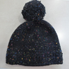 Womens Crochet Hat - Flecked Black - Size L