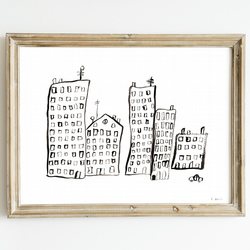City Giclee Art Print - City Flat Decor, London Art, Cityscape Art, City Drawing