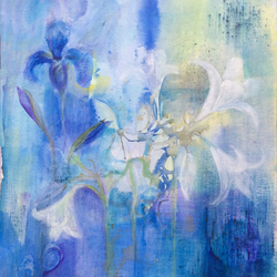 Iris Blue - original mixed media painting