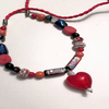 Red Heart Necklace with Red Leather Cord