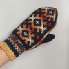 hand knitted wool mittens black orange white mittens traditional fairisle nordic
