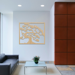 Tree of Life in Frame Wooden Wood Hanging Modern Wall art Ash MDF Oak 072