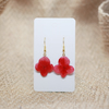 Hydrangea Earrings, Red Flowers, Gold Plated French Hook