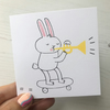 Skateboard Rabbit with Trumpet Screenprinted Card