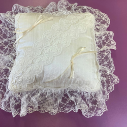 Silk ring cushion trimmed with Nottingham Lace