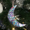 Crescent dark sparkly moon large hanging Christmas tree decoration.