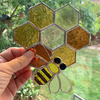 Stained Glass Honeycomb and Bee Suncatcher - Handmade Window Decoration - Amber