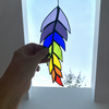 Stained Glass Feather Suncatcher - Handmade Window Decoration - Multi