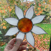Large Stained Glass Daisy Suncatcher - Handmade Window Decoration - White Red