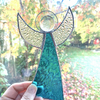 Stained Glass Large Angel Suncatcher - Handmade Decoration - Turquoise