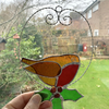 Stained Glass Robin and Holly Suncatcher - Handmade Window Decoration
