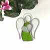 Stained Glass Guardian Angel Suncatcher -  Handmade Window Decoration - Lime