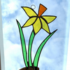 Stained Glass Daffodil Suncatcher - Handmade Hanging Window Decoration