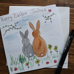 Personalised Easter Bunny, hand drawn card with envelope
