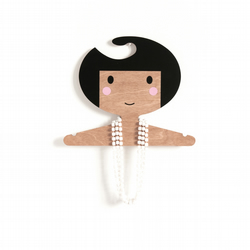 Wooden Coat Hanger with a girl's face and  darker Skin Tone