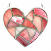 Fat Patchwork Heart Suncatcher Pink Stained Glass Handmade 015