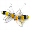 Bee Suncatcher Stained Glass Bumble Queen 030 031
