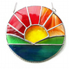 Sunrise Picture Stained Glass Suncatcher Handmade Sun Ring 039