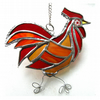 Cockerel Suncatcher Stained Glass chicken 035 Red