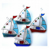 Boat Suncatcher Stained Glass Sailboat Yacht Red Blue or Blue-green