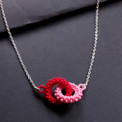 Block Colour Double Beaded Loop Necklace in Pale Pink and Red