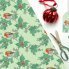 Robin Christmas Gift Wrap - Vintage Style, Eco Friendly, Compostable Paper