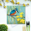 Kingfisher with Willow and Marsh Marigolds Greetings Card - British Bird