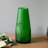 Green recycled bottle vase, etched glass vase with dragonfly design
