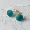 Stud earrings, sea blue fused glass with sterling silver fittings