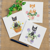 Cute Cats in Flower Pots Greetings Card Black Cat Ginger Cat Card