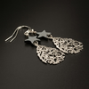 Silver filigree teardrop and hematite star earrings, Aquarius gift